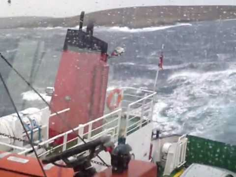 Unst Ferry 'Bigga' on Bluemullsound, Shetland - January 2010