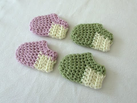 How to crochet basic baby shoes / booties for beginners