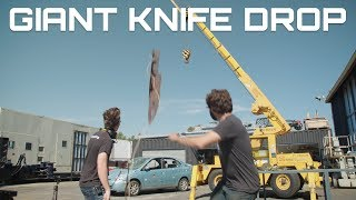 dropping a giant knife on a car behind the scenes