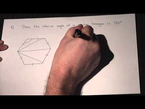 Finding the size of the interior angle of a hexagon easily