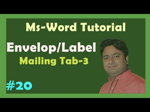 Day - 20 Envelop and Label Tutorial in Hindi | Advance Tutorial Ms word by Manoj Sir