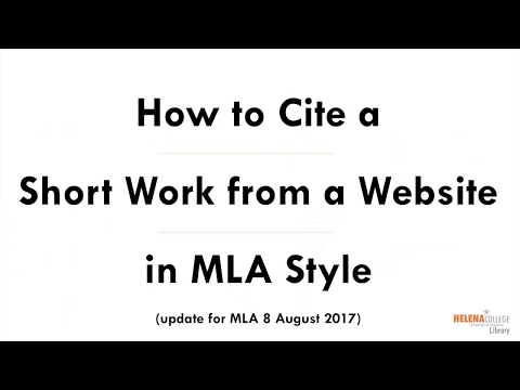 Cite a Short Work from a Website in MLA (8) Style