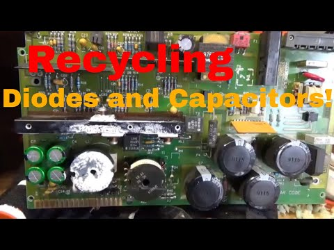Recycling Printed Circuit Boards, Reclaiming Diodes, Capacitors From Scrap!