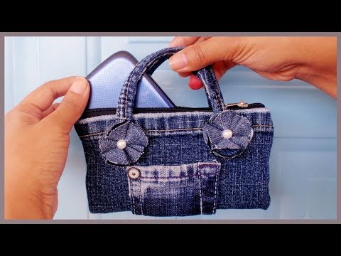 DIY Easy Mini Handbag Phone Case/Purse from Old Jeans(NO SEW)
