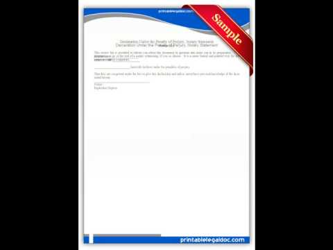 Free printable Declaration Under the Penalty of Perjury Notary Statement Forms