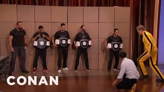 steven ho teaches conan bruce lees power side kick conan on tbs