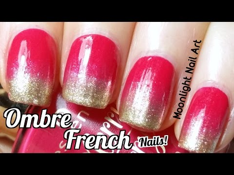 Red & Gold Ombre French Manicure (Sponge Nail Art)