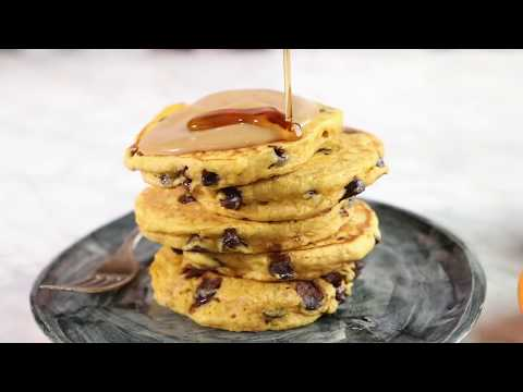 Chocolate Chip Pumpkin Pancakes with Whipped Maple Butter