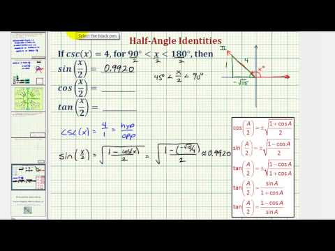 Ex: Find Half Angle Trigonometric Function Values Given Cosecant of an Angle
