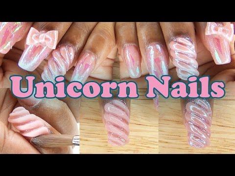 Unicorn Nails w/ 3D Acrylic Bows | Acrylic Nail Design | LongHairPrettyNails