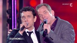 """Garou et Marc Lavoine chantent """"C'est ça la France"""" sur le plateau du Téléthon 2015 - 04/12/2015"""