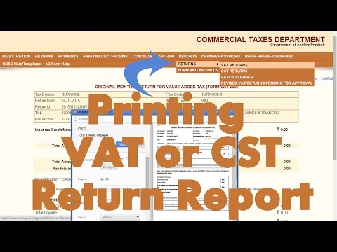 How to print VAT or CST Returns in AP Commercial Tax website?