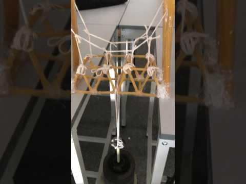 Suspension bridge made from spaghetti