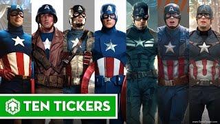 Captain America Through Years 1944, 1979, 1990, 2011, 2012, 2014, 2015, 2016