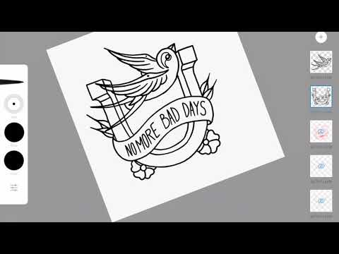 Swallow over the horseshoe traditional tattoo drawn on iPad