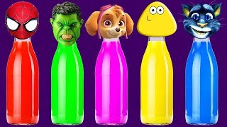 Spiderman, Hulk, Paw Patrol, Pou, Talking Tom Bottles Finger Family Colors Learn