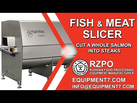Fish slicer. Cut a whole salmon into steaks. Food Slicer