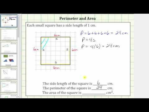 Determine the Perimeter and Area of a Square on a Grid