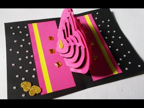 Valentines Day Card : How to Make Heart Pop-Up Love Card | 3D Kirigami Paper Craft