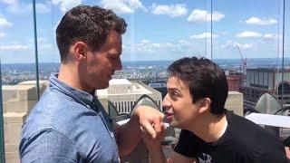 Lin Manuel Miranda and Jonathan Groff singing 'SATISFIED'