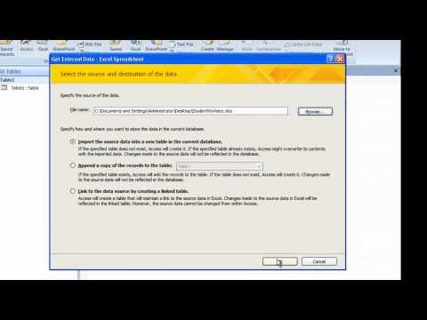 How to Export Data from Excel 2003 (Any Version) to Access 2007 to Create a Database