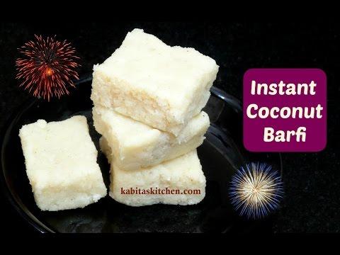 Instant Coconut Barfi | Nariyal ki Burfi | Diwali Special Sweets Recipe | kabitaskitchen