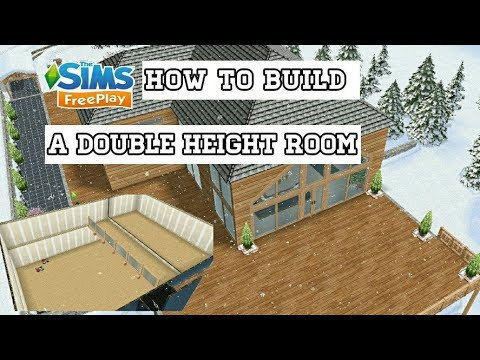 The Sims Freeplay - How to Build a Double Height Room / Balcony from Chalet house (Tutorial)