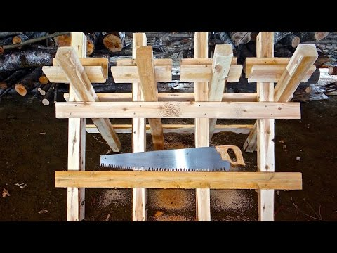 Sawbuck - construction of a sawhorse for cutting firewood logs with crosscut hand saw
