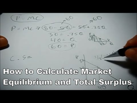 Calculating equilibrium and surplus given an inverse demand and marginal cost function
