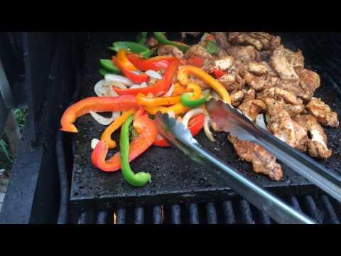 Grilling Chicken, Peppers and Onions on the Island Grillstone for Fajitas