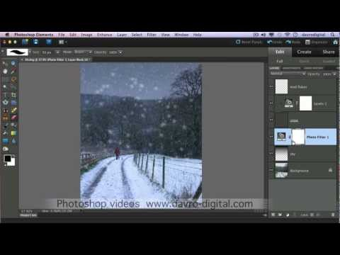 Falling snow fx Photoshop Elements