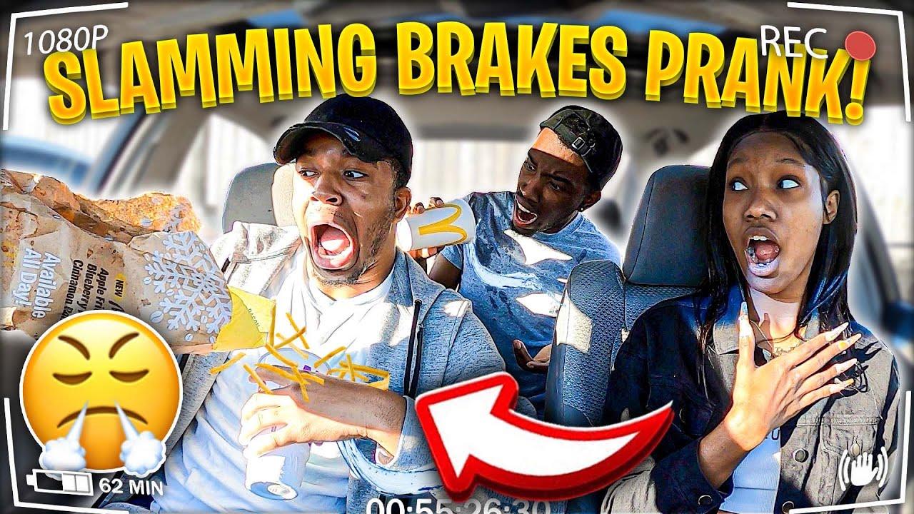 SLAMMING THE BRAKES PRANK ON BOYFRIEND!!