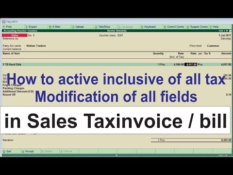 TALLY.ERP-GST MRP  Inclusive of all tax & modification of all fields in SALES INVOICE - Tally erp9