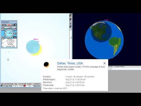Dallas - Animation of the Total Solar Eclipse August 21, 2017