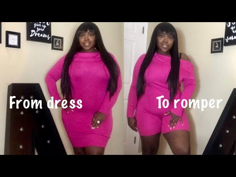 DIY old sweater dress into a romper in 10 minutes! ( no sewing machine  just needle,thread,scissors)