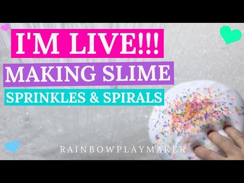 WATCH ME MAKE SLIME LIVE!!! HOW TO MAKE SPRINKLES!!! SPIRALING SLIME!!!