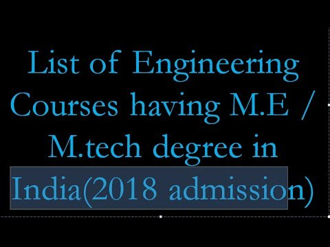 mtech programs in India ( mtech courses 2018 admission)
