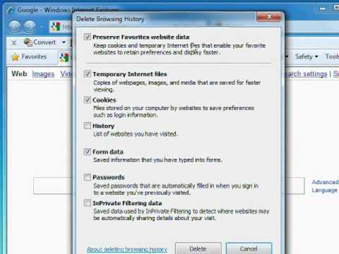 How to Delete IE 8 Cache & Browser History