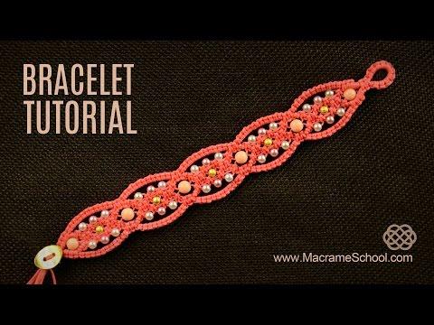 Square Knot Loops Bracelet Tutorial   Macrame School