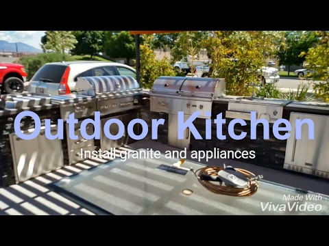 DIY: How to build an outdoor kitchen with barbeque, fridge, sink, stone, stucco, etc.