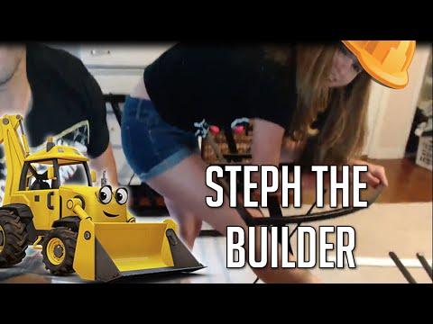 Steph the Builder- Building Corner Glass Top Computer Desk
