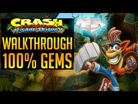Crash Bandicoot N. Sane Trilogy Walkthrough Level 1 Perfect Run 100% - White Gem, N  Sanity Beach