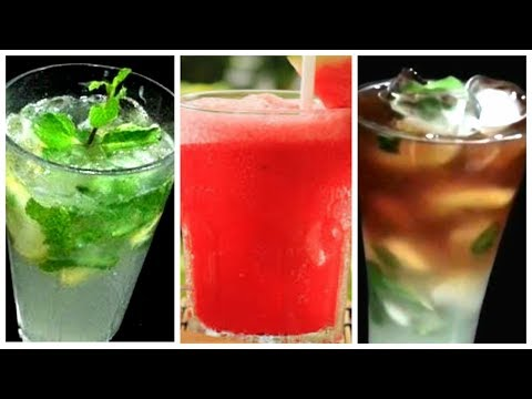 3 Easy Summer Drinks Recipes / Summer Cooler Recipes/ Watermelon,  Lemon Mojito/ Online Recipes/Food