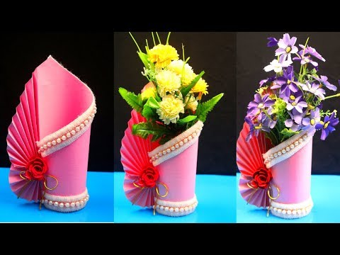 How to make a paper vase at home - DIY Simple paper craft - Paper flower vase crafts