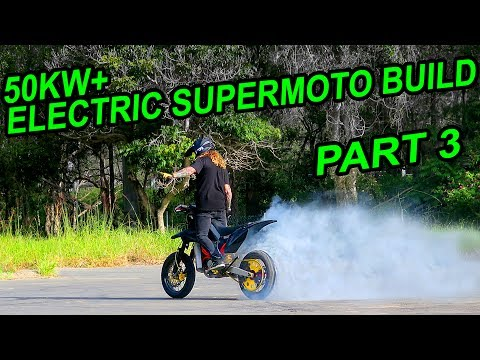 50KW ELECTRIC SUPERMOTO BUILD [EP 3] FIRST RIDE & HOSPITAL TRIP