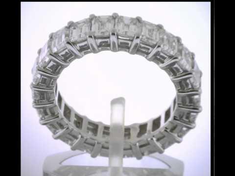 5.75 Ct Emerald Cut Platinum Diamond Band Eternity Ring