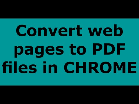How to convert web pages to PDF files in CHROME