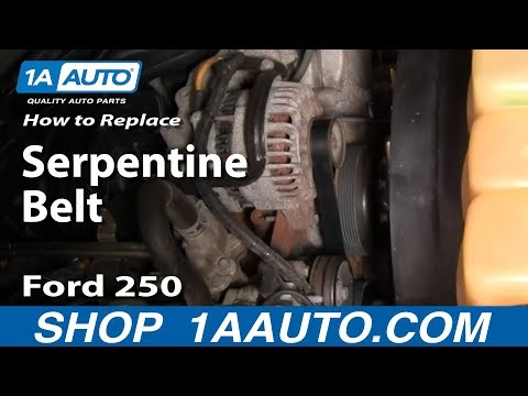 How To Install Replace Serpentine Belt 99-07 Ford F250 Super Duty 5.4L 1AAuto.com