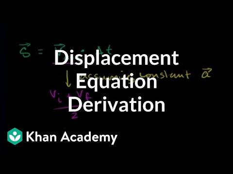 Deriving displacement as a function of time, acceleration, and initial velocity | Khan Academy