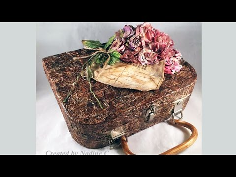 Paper Mache Purse Box with Canvas Corp and Tattered Angels